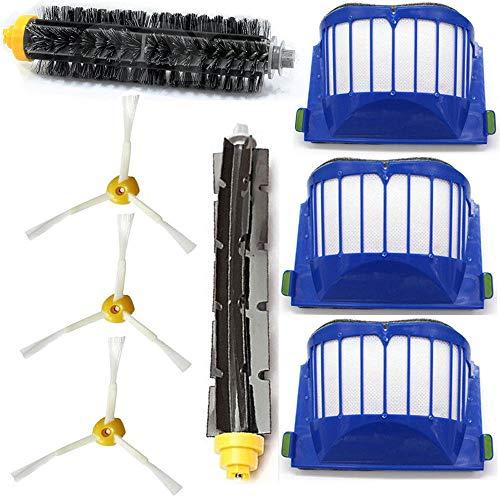 WALLER PAA 3-Armed Brush Filter Kit For iRobot Roomba Aerovac 550 585 595 620 630 650 655