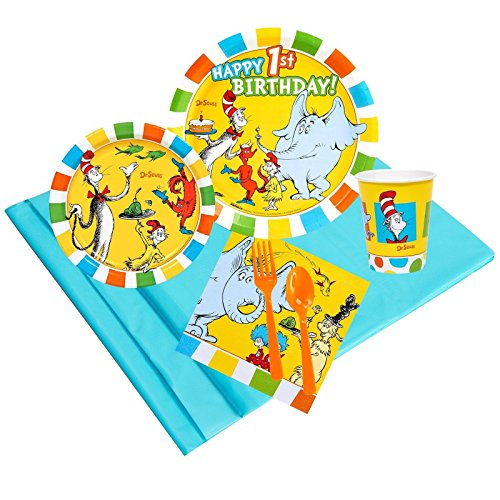 Dr Seuss 1st Birthday Party Supplies - Party Pack for 24 Guests - Dr Seuss Fish Costume