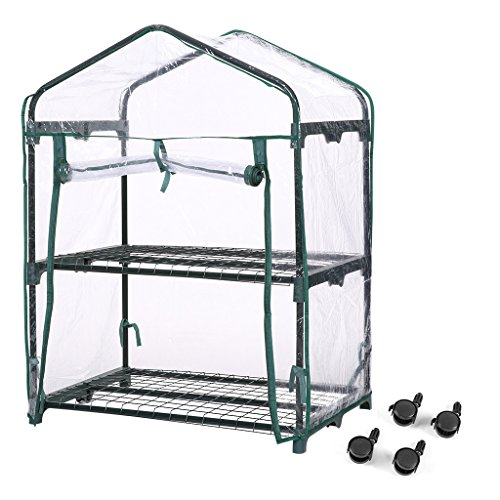 Finether 2-Tier Mini Greenhouse with Transparent Cover and Clear Cover for Indoor Outdoor Herb Flower Garden Balcony, Portable, 27.2''W x 19.3''D x 37.4''H by Finether