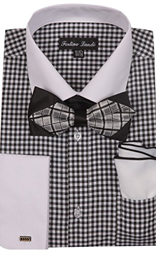 Black And White Gingham Bow (Gingham French Cuff Dress Shirt w/Bow-Tie & Hanky Set #628 (15-15 1/2, 34/35, Black))