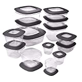 Rubbermaid Premier Easy Find Lids Meal Prep Food Storage Containers 28-Piece Set, Grey