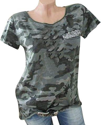 Camisetas Mujer Verano Camuflaje Retro Casual Corta Camisas ...