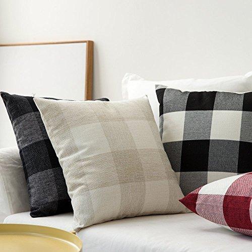 SEEKSEE Burlap Farmhouse Decor Throw Pillow Covers