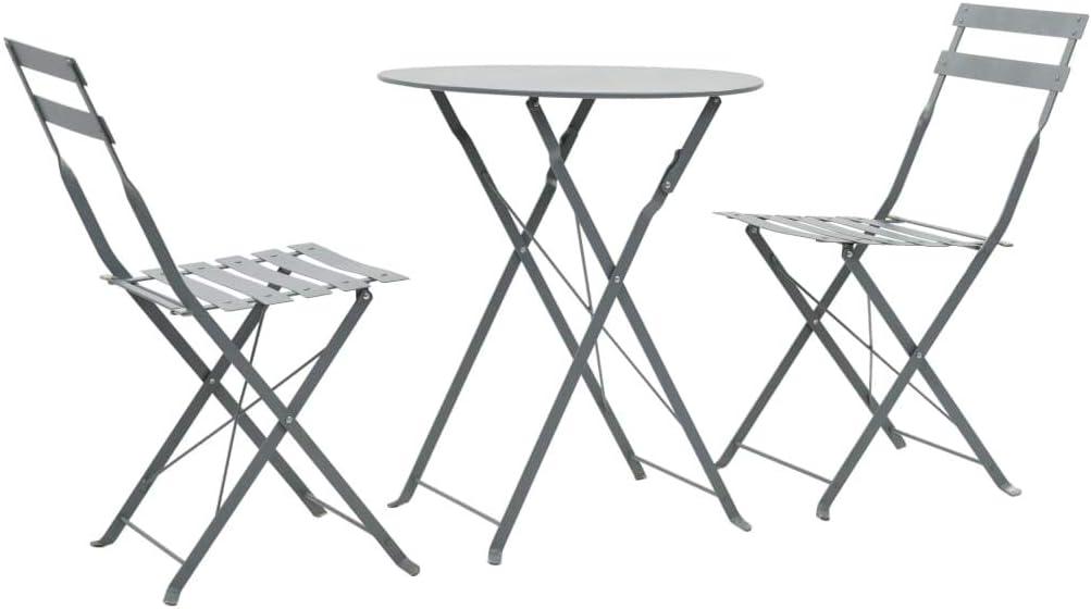 Festnight- 3-TLG.Garten-Bistroset Balkon Set Gartenmöbel Grau Stahl Zusammenklappbar 1 Tisch und 2 Stühle