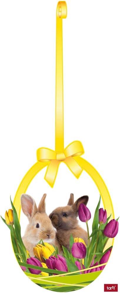 Oeuf Jaune 46 x 40 cm Lapins dans Nid avec Tulipes 1art1 P/âques Sticker Adh/ésif Fen/êtres Autocollant