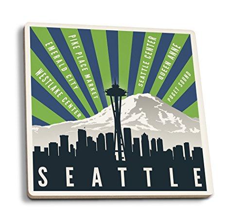 Lantern Press Seattle, Washington - Skyline and Mountain - Graphic Typography (Set of 4 Ceramic Coasters - Cork-Backed, Absorbent)