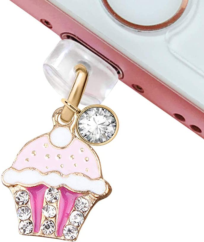 CP90 USB Charging Port Anti Dust Plug Cute Purple Crystal Cupcake Pendant Phone Charm for iPhone 11// XS MAX//XR//X//8 Plus//7//6S//8//SE iPad iPod