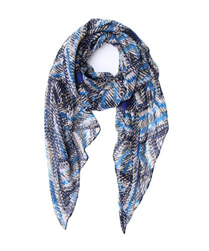 Lucky Leaf Women Girls Cozy Lightweight Spring Chiffon Flowers Printed Scarf Wrap Shawl (Black Navy)