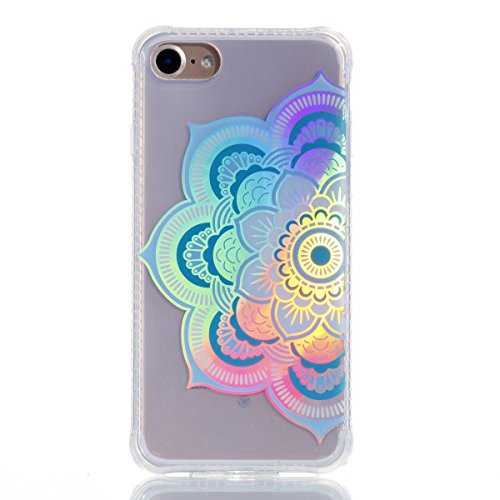 iPhone 7 Hülle, JIAXIUFEN Silikon Handy Hülle HandyHülle Hüllen Schutzhülle Case Cover für Apple iPhone 7 / iPhone 8 - Shiny Change Color Half Mandala Flower Design