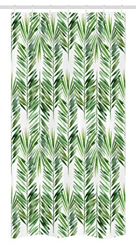 Decor Stall Shower Curtain by, Watercolor Tropical Tree Branch Evergreen Leaf Featured Artsy Plant Lush Design, Fabric Bathroom Decor Set with Hooks, 36 W x 72 L Inches, Green ()