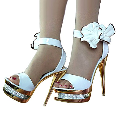 Getmorebeauty Women's Diamante Bows Glitter Hollow Strappy Wedding Shoes Sandals 9 B(M) US