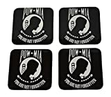 POW MIA Flag Drink Coaster Set Gift United States of America Military Veteran Home Kitchen Bar Barware
