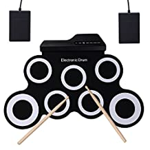CAHAYA Roll-Up Electronic Drum Kit Foldable Musical Entertainment Practicewith 2 Foot Pedals and 2 Drum SticksPortable Electronic Drum for Kids and Drum Beginners