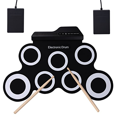 CAHAYA Electronic Drum Roll-Up with 2 Foot Pedals and 2 Drum Sticks Foldable for Kids and Drum Beginner