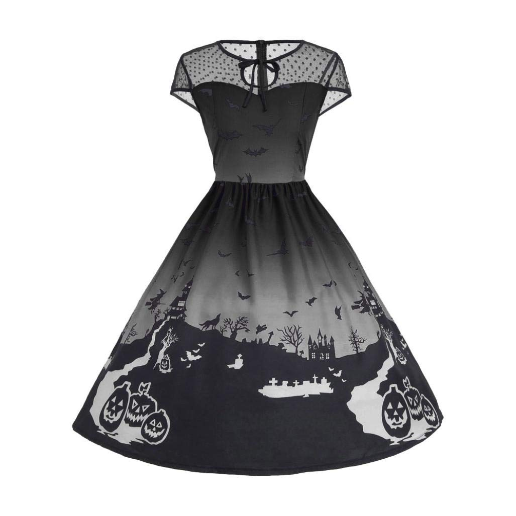 DEELIN Femmes Halloween Party Retro Manches Courtes Une Ligne Robe Dentelle Patchwork Fairy Tale Vintage Dress