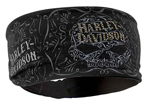Harley-Davidson Women's Studded Ornate Willie G Skull Knotted Headband HP14630