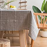 ColorBird Solid Embroidery Lattice Tablecloth Cotton Linen Dust-Proof Table Cover for Kitchen Dinning Tabletop Decoration (Rectangle/Oblong, 52 x 102 Inch, Gray)