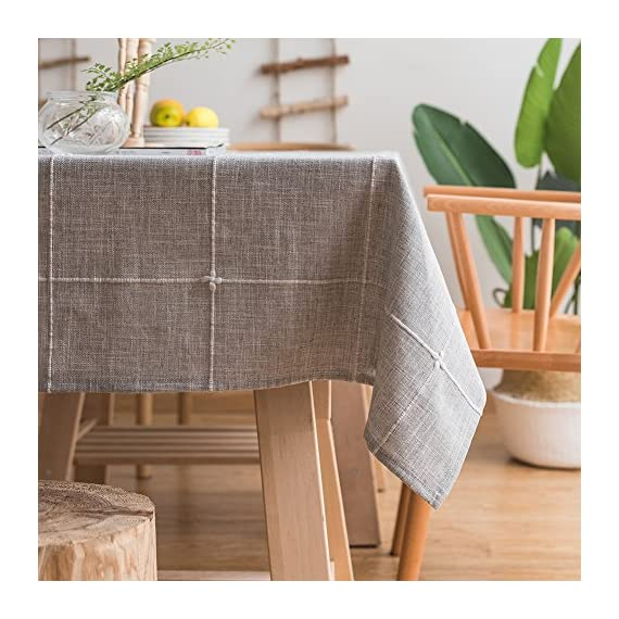 "ColorBird Solid Embroidery Lattice Tablecloth Cotton Linen Dust-Proof Checkered Table Cover for Kitchen Dinning Tabletop Decoration (Rectangle/Oblong, 52 x 70 Inch, Gray) - MASTERFUL DESIGN - Featuring elegance embroidered lattice pattern on soft hue cotton linen fabric with seamless hemstitched, this ColorBird elegant modern tablecloth will not only add to the beauty of your home but will also make your meal-time both fun and relaxing ANTI-WRINKLE&ANTI-SHRINK - Super, hard wearing 100% cotton linen is more wrinkle-proof and shrink-proof, hemmed edge adds a finished look and prevents wear and tear; Tablecloth measures 52"" Width x 70"" Length (130 x 180 cm), size deviation is between 1 to 2 inch. Fits tables that seat 4-6 people EASY TO CARE FOR - Machine washable in low temperature or cold water, gentle cycle; Hand wash best; No bleaching; Tumble dry on low heat or lay flat to dry - tablecloths, kitchen-dining-room-table-linens, kitchen-dining-room - 51mICbl3OWL. SS570  -"