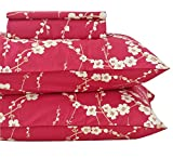 Queen's House Luxury Red Cherry Blossom Print Egyptian Cotton Pillowcases Standard Queen Size Set of 2-#004