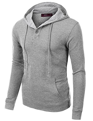 Doublju Mens Casual Soft Long Sleeve Pullover Hoodie Gray,S