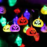 #5: Halloween Pumpkin Lantern Set (2 Packs) 10 Foot Pumpkin Light Skull Light 32 LED String Lights Jack o Lantern Lndoor Outdoor Halloween Parties Decorations Series
