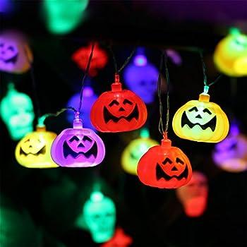 this item halloween pumpkin lantern set 2 packs 10 foot pumpkin light skull light 32 led string lights jack o lantern lndoor outdoor halloween parties - Halloween Pumpkin Lights