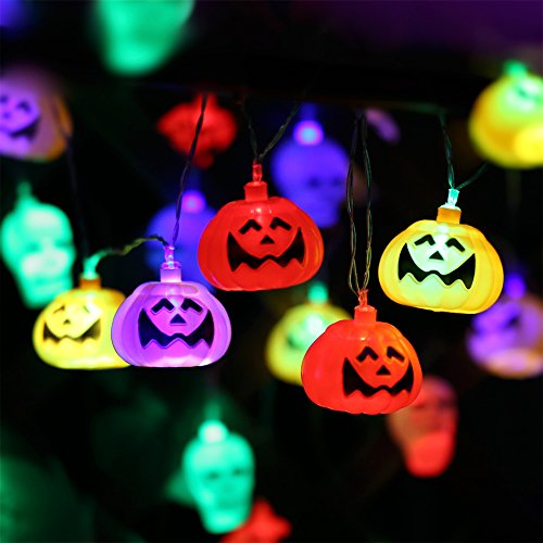 Halloween Pumpkin Lantern Set (2 Packs) 10 Foot Pumpkin Light Skull Light 32 LED String Lights Jack o Lantern Lndoor Outdoor Halloween Parties Decorations Series