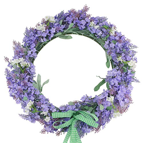 Ogrmar Artificial Flower Wreath/Handmade Floral Artificial Simulation Flowers Garland Wreath for Home Front Door Christmas Wedding Party Decoration (Purple) (Wreath Purple Christmas)
