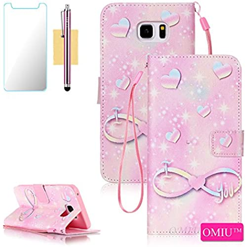 S7 Case, Galaxy S7 Case, OMIU(TM) PU Leather Wallet Pouch With Wristlet For Samsung Galaxy S7, Sent Stylus,Screen Protector-(Pink Note), Samsung Galaxy S7 Case Sales