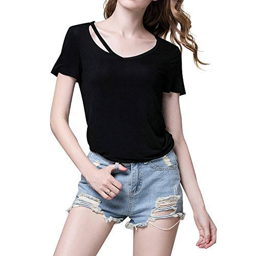 (RoxZoom Women's V-Neck T-Shirt, Super Soft Modal Spandex Short Sleeve Pullover Causal Tops Tee, Black, Size Large)