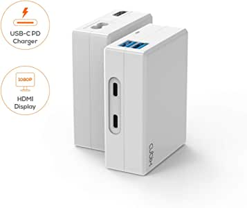 """USB-C Charger, mbeat Cubix USB-C Charger (USB Type C PD) supports 5V, 9V, 14.5V/3A, 20V/2.25A, supports HDMI 1080P Video Display, Portable 5V/3A USB Charger, USB 3.0 and USB-C hub, Charging Compatible with MacBook, MacBook Pro 63W/87W, iPad Pro 12.9"""" (late 2018), iPad Pro 11"""" (late 2018), Lenovo Thinkpad, Yoga USB-C, Huawei MateBook, Google Pixel 3/3XL, Samsung S9/9+, S10/S10+, iPhone 8/8Plus, iPhone X/Xs, iPhone XR, iPhone Xs Max"""