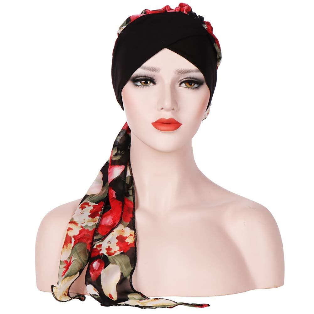 Chemo Head Cap Pre Tied Head Wrap Sleep Turban Headwear Bandana Cap for Cancer(Black) Cotowin