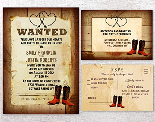 (Cowboy Western Rustic Country Themed Wedding Invitations - Invitation Set of 50 )