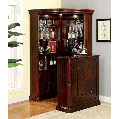 Furniture of America Myron Traditional Corner Home Bar in Dark Cherry