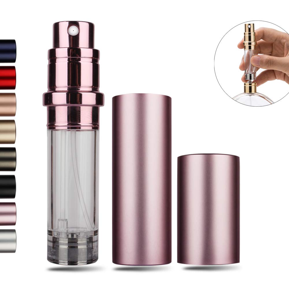 Perfume Bottles Refillable Empty Atomizers Portable Travel Size Mini Leaking Proof Spray Perfume Container for Women Men Pink
