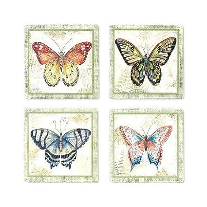 """Set de 8 Posavasos Decorativos Cerámica """"Mariposas"""" Vajillas y Cuberterías."""