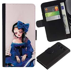 ZONECELL (No Para S3 Mini) Imagen Frontal Negro Cuero Tarjeta Ranura Trasera Funda Carcasa Diseño Tapa Cover Skin Protectora Case Para Samsung Galaxy S3 III I9300 - linda muchacha triste