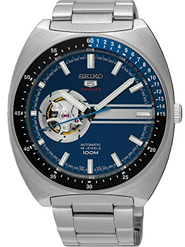 Seiko 5 Retro Open Heart Blue Dial Automatic Mens Watch ()