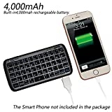 Mini Bluetooth Keyboard Portable, eJiasu Handheld Wireless Keyboard Travel Keyboard with Rechargable 4000mAh Power Bank for Apple iPhone 8/7 plus/6 plus/6/5s/5 Android Smartphone (Black)