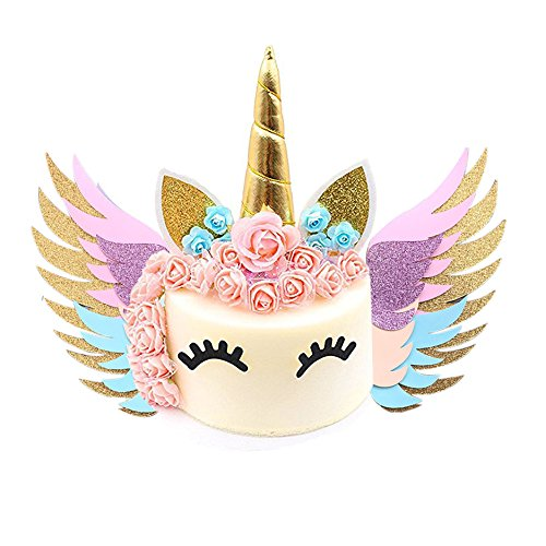 MORDUN Unicorn Cake Topper Gold Set , Reusable Glitter Unicorn Horn, Ears,  Eyelashes, Flowers, Wings , Unicorn Party Decoration for Birthday Party,