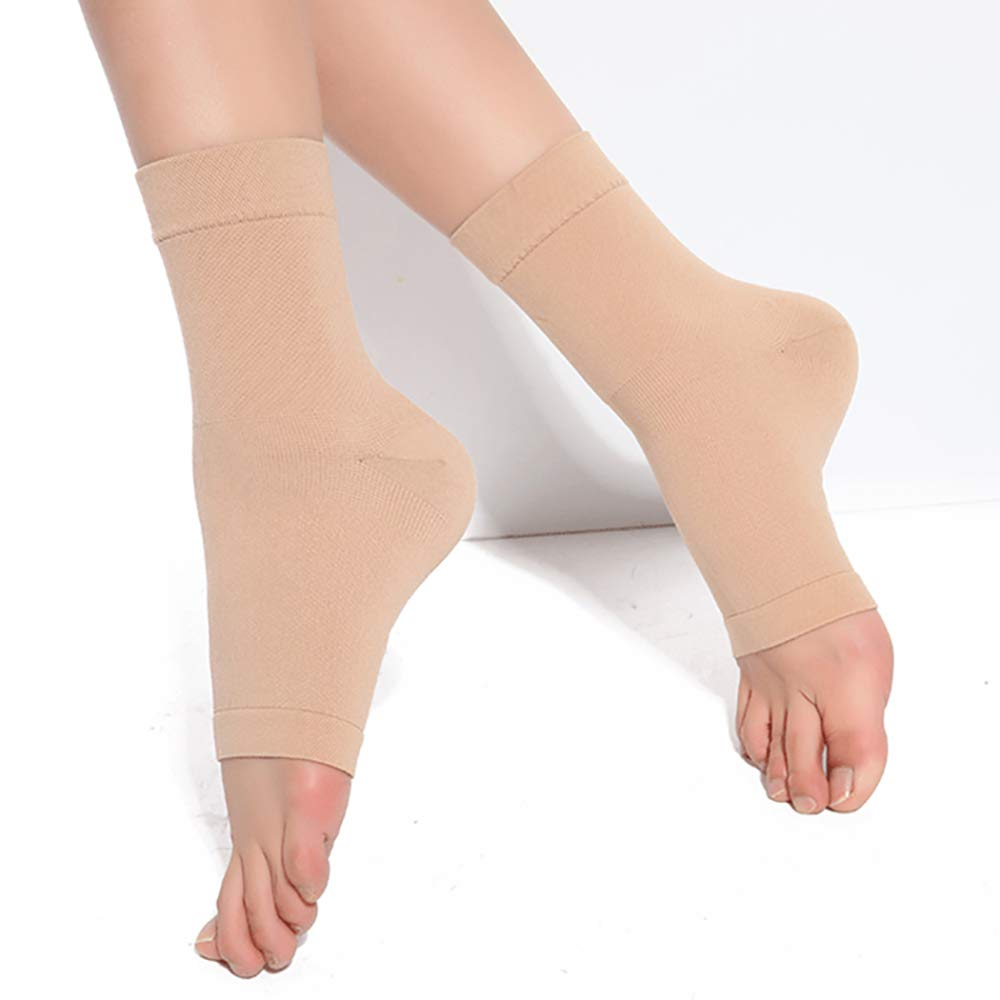 Pevor Ankle Foot Brace Compression Support Sleeve for Women and Men Sprains Strain Arthritis Weak Ankles Planter Fasciitis Good Protector Sleeve Apricot L