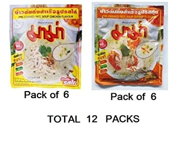 Amazon Com Mama Pre Cooked Rice Soup Shrimp Flavour 50gx6packs