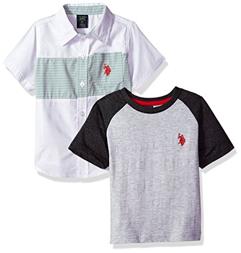 U.S. Polo Assn. Boys' Little Short Sleeve T-Shirt Set, Chest Stripe Woven Color Block el Multi Plaid, 5/6
