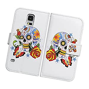 Fabcov Packing Bcov Colorful Skull Flower Leather Wallet Cover Case For Samsung Galaxy S5 GS5