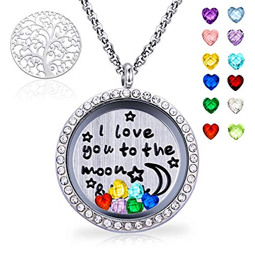 XingYue Jewelry Family Tree of Life Floating Charm Locket I Love You Moon and Back Necklace 12 Heart Birthstones Include (Family Tree CZ Locket)