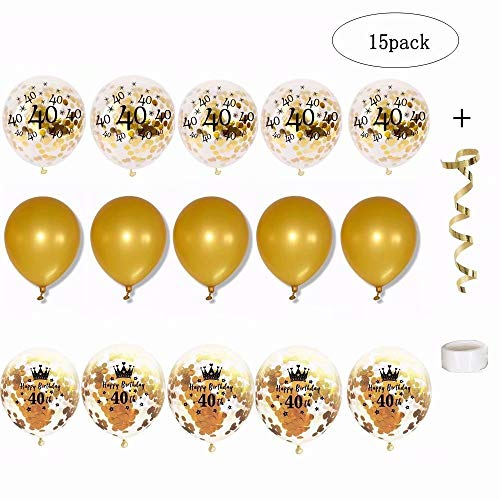 Budicool 40th Gold Confetti Balloons 12 Inch Latex Party Balloons with Golden Paper Confetti Dots for Boy Girl Adult Birthday Party Decorations (Pack of 15) ()