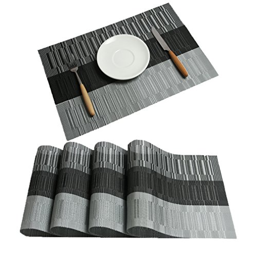 Placemats Ivalue PVC Place Mats Washable Black Bamboo Placemats Set of 4 for Table Non Slip Woven Fabric Table Mats (4, Black01) … (Rectangle Placemat)