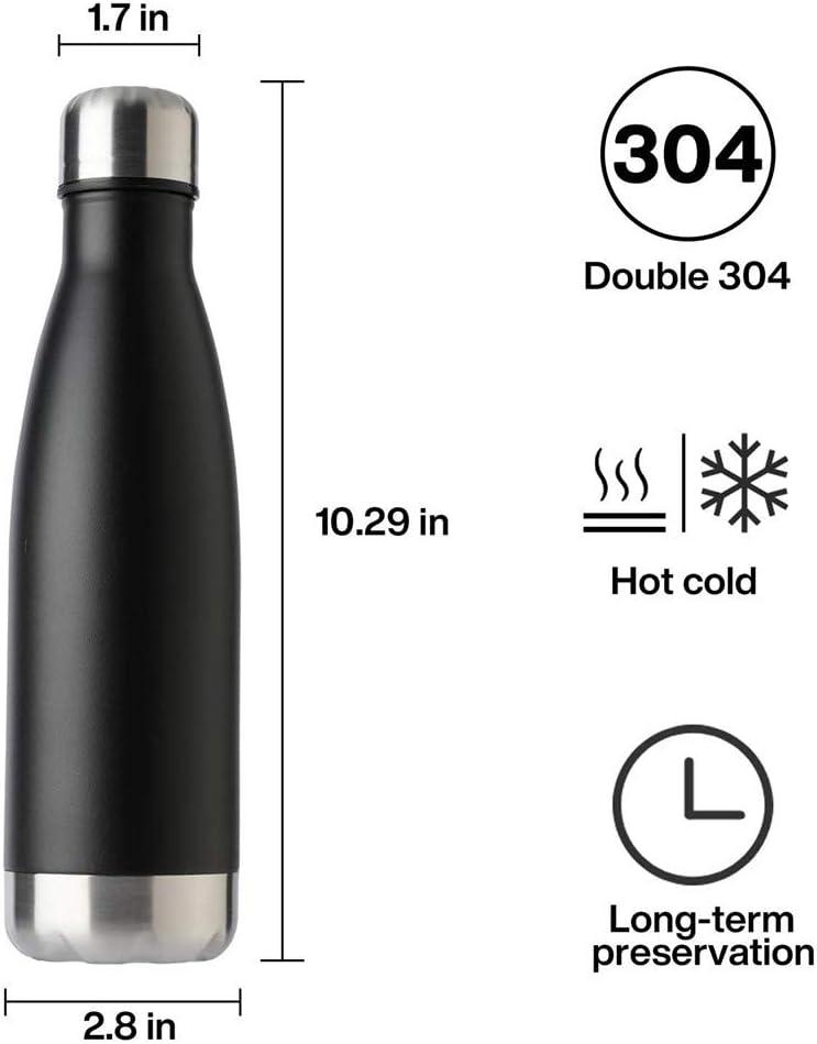 Portatile Borraccia in 304 Acciaio Inox Termica Bottiglia d'Acqua Sportive 500ml per Mantenere Caldo E Freddo, Borracce per Scuola, Sport, All'aperto, Palestra, Yoga G