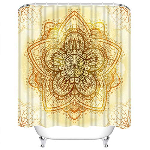Houlor Shower Curtain Set Hand Drawn Ethnic Circular Beige Ornament Mehandi Abstract Art Polyester Waterproof Target Non-PVC Spa Decor Bathroom Fashion Bathing Set with Hooks 72x72 Inches