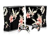Vinyl Decal Protective Sticker Skin for Microsoft Xbox 360 Slim and 2 Controllers Skins-Flowers in Black Background